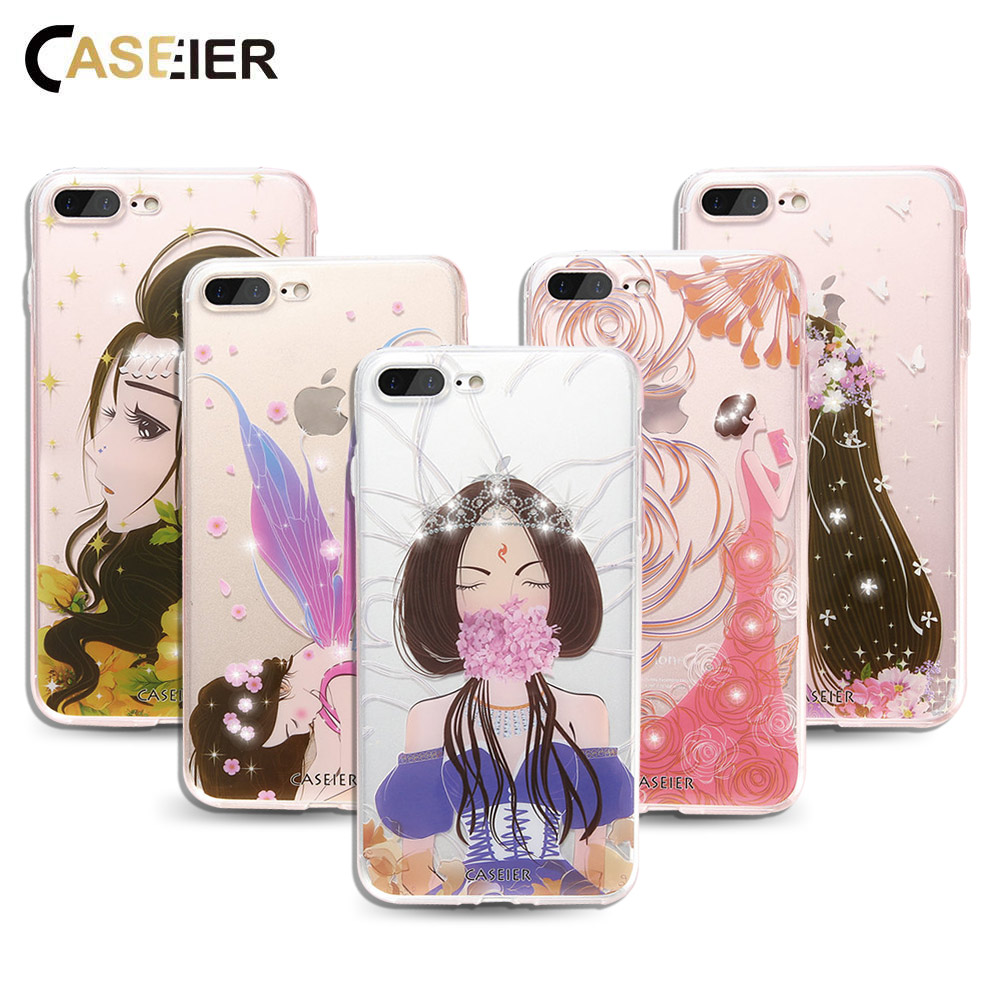 Caseier Luxury Phone Case For iPhone 6 6s Plus Image Painted Silicone Coque 5 5s SE Girls Bling Diamond Shell