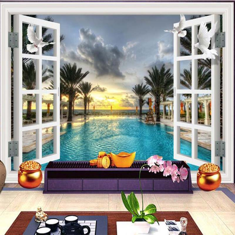 Custom 3D Room Landscape Wallpaper Window Views Swimming Pool Trees Wall Mural Study Room Sofa Backdrop Wall Paper On The Walls