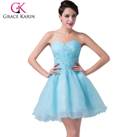 Grace Karin Blue Short Homecoming Dress 2018 Sexy Strapless Ball Gown Appliques Cocktail Party Dress Prom