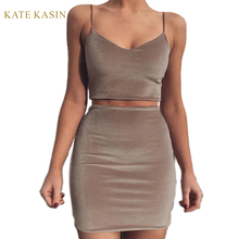 Summer Women Sexy Slim Straps V Neck Velvet Camis Tops Crop Top + Mini Bodycon Dress Set Outfit Party Club Suits