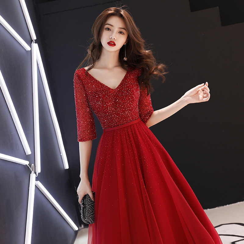 A-line   Evening     Dress   Shining Fabric Pachwork Mesh V-neck Half Sleeve Formal Party Gown Vintage Wine Red Long Prom   Dresses   E093