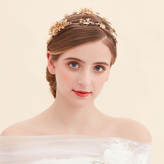 Vintage bridal headband Flower Wedding Tiara Crown gold Bridal Hair Accessories Jewelry two rows golden hairband women tiara
