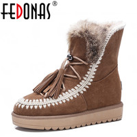 FEDONAS Top Quality Fashion Women Snow Boots Winter Keep Warm Wool Genuine Leather Ankle Boots Women