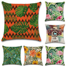 Nordic style Tropical plants Flamingo green leaf Cushion Cover Decoration for home Sofa chair car Pillow case friend kids gift nordic style tropical plants flamingo green leaf cushion cover decoration for home sofa chair car pillow case friend kids gift