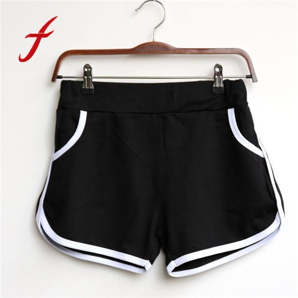 Hot Sale High Waist   Shorts   Women Casual Loose Cotton Contrast Binding Side Split Elastic Waist   Shorts   With Pocket   Short   feminino