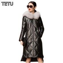 5XL Plus size 2016 Winter New Women Long Leather Down Jacket Genuine Leather Sheepskin+90% Duck Down+Fox Fur Hooded Coat 6057B