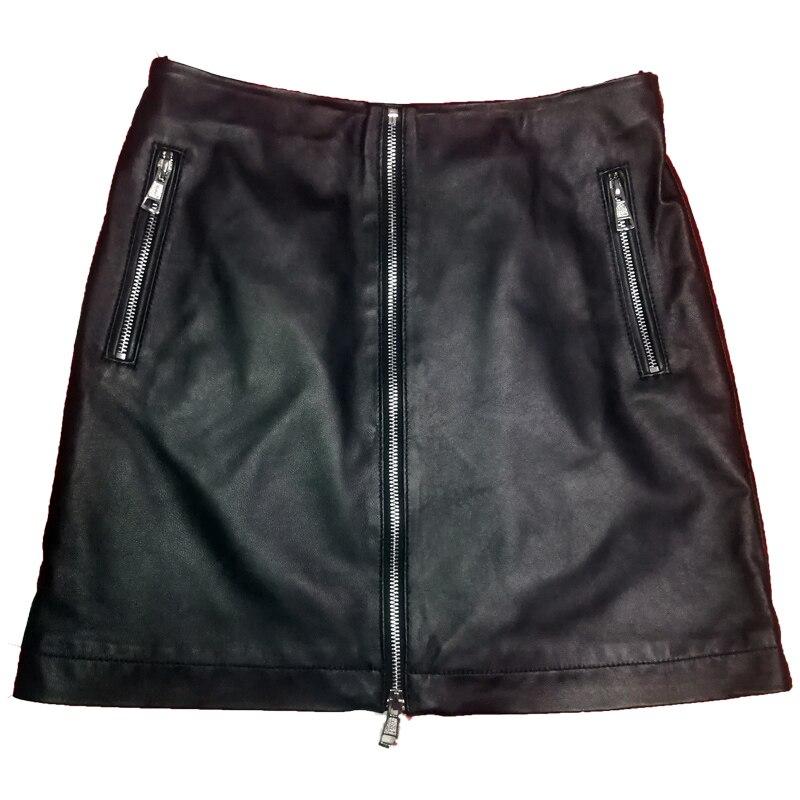 Mince Hanche La Plus Noir Midi Véritable Jupes Mouton Saia Zipper Automne Mot Vente Nouvelle 2018 De Cuir Faldas Femmes Sac Jupe Taille En Un gTHZxUv