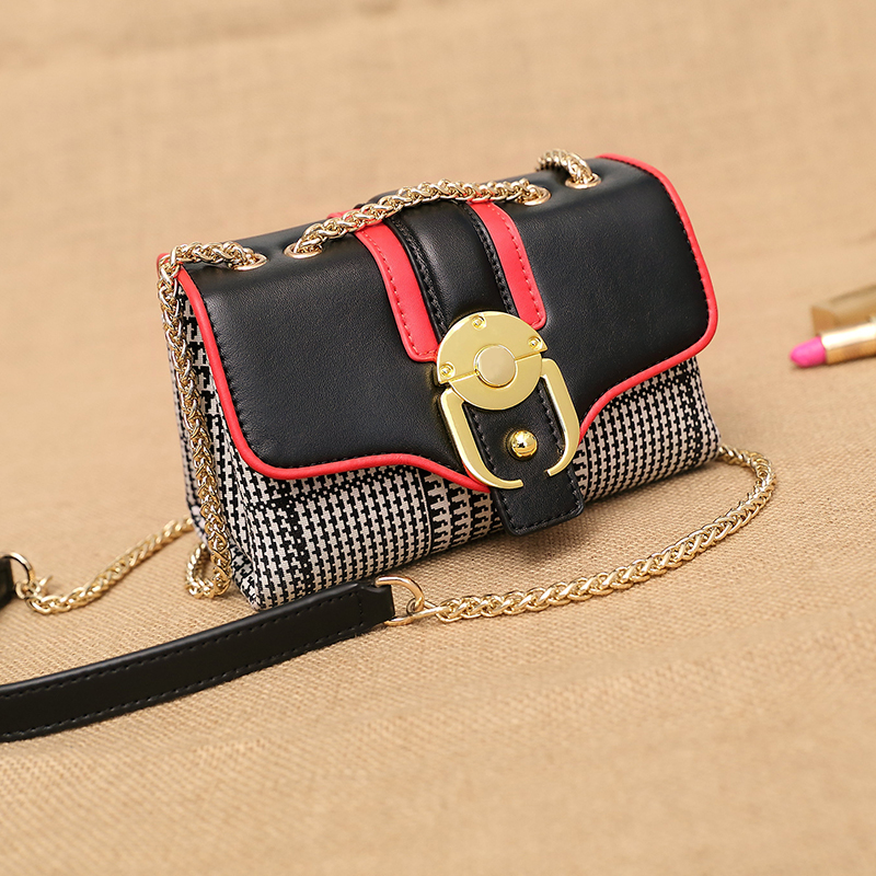 ФОТО LUXURY Women Exquisite Square Flap Bags Famous Brand Women Chain Messenger Bag Unique Designer Houndstooth Crossbody Bags Bolsas