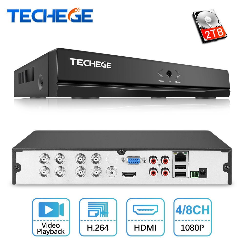 Techege 4 Channel 8 Channel AHD DVR Surveillance CCTV Video Recorder DVR 720P 1080N Hybrid DVR
