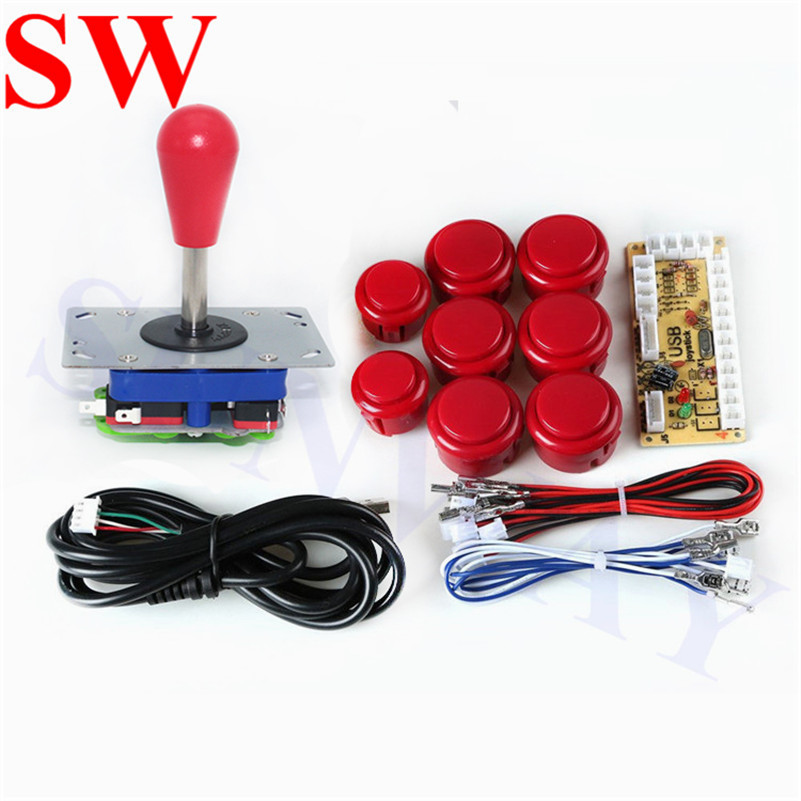 2 Pcs Zippy Joystick Red Ball Four Color 30mm Led Push Button Switch American Style Usb Joystick Control Encoder Board Coin Operated Games