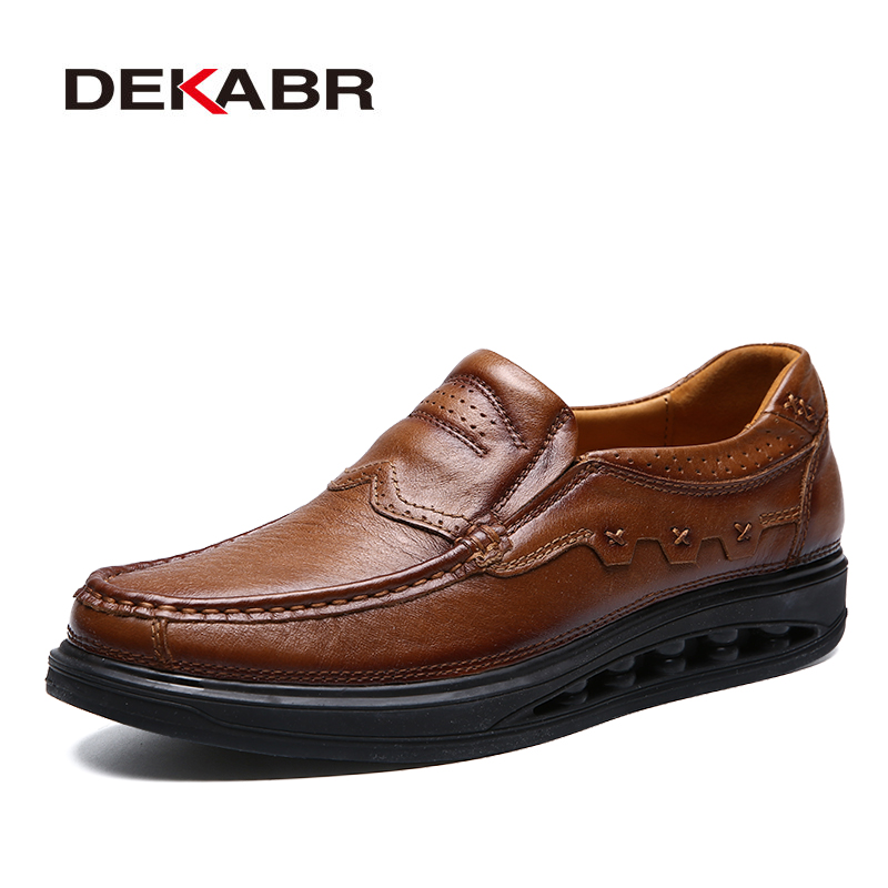 DEKABR 2019 Fashion Comfortable Casual Shoes Loafers Men Shoes High Quality Genuine Leather Shoes For Men Flats Hot Sale