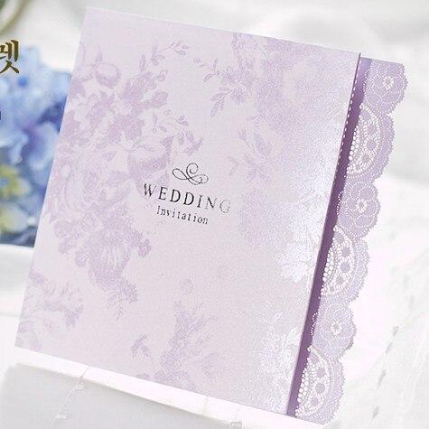 50 Satze Licht Lila Spitze Laser Cut Tri Gefaltete Hochzeitskarten