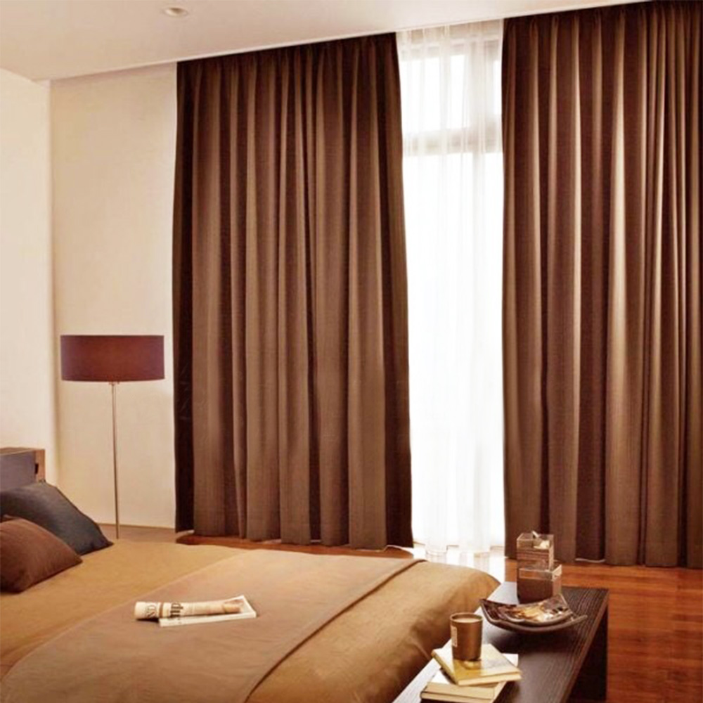 Good Sleep Blackout Window Curtain Drapes Twill Pattern Polyester Linen Fabric For Living Room Bedroom High