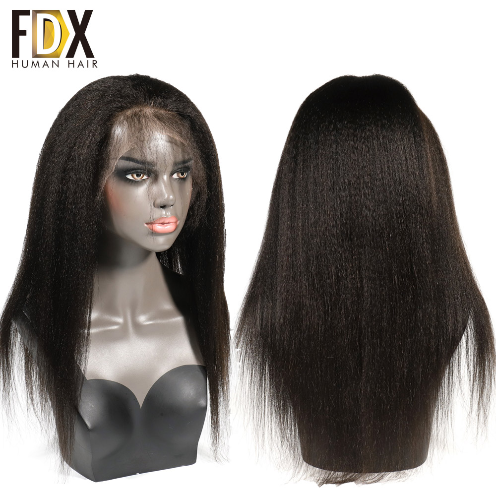 Brazilian Kinky Straight lace front human hair wigs For Black Women Nartural Color 13x4 pre plucked
