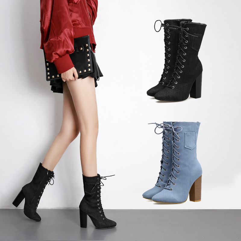 Fashion Blue Denim Women High Heels Pointed Toe shoes woman Lace up  Winter Ankle Boots Casual Women Pumps Women Denim shoes pointed toe lace up women ankle boots fashion ladies autumn winter flat heels cuasual boots shoes woman motorcycle short booties