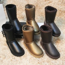 จัดส่งฟรี!คลาสสิกธรรมชาติขนขนสัตว์จริงหนังแกะหนังรองเท้าหิมะสำหรับผู้หญิงรองเท้าฤดูหนาวที่มีคุณภาพสูง