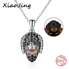 XiaoJing 925 Sterling Silver Lovely Dog Head Necklace Pendant Charm For Men Women Cubic Zircon Jewelry Gift free shipping цена 2017