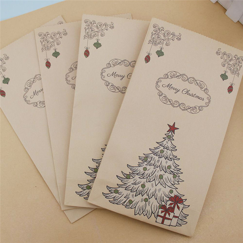 5pcs Retro Elk Pattern Kraft Paper Packing Gift Bags Christmas Party Wedding Marriage Candies Food Cookie Candy Packaging Bags