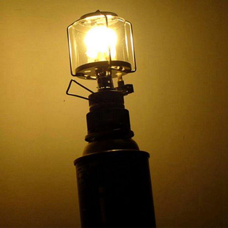 Gaoominy Linterna de Camping Luz de Gas Lampara de Vidrio de Tienda portatil Butano 80LUX Luz BL