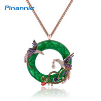 Genuine 18K Gold Plated Round The Phoenix Necklace Pendant Costume Long Necklaces Jewelry For Women