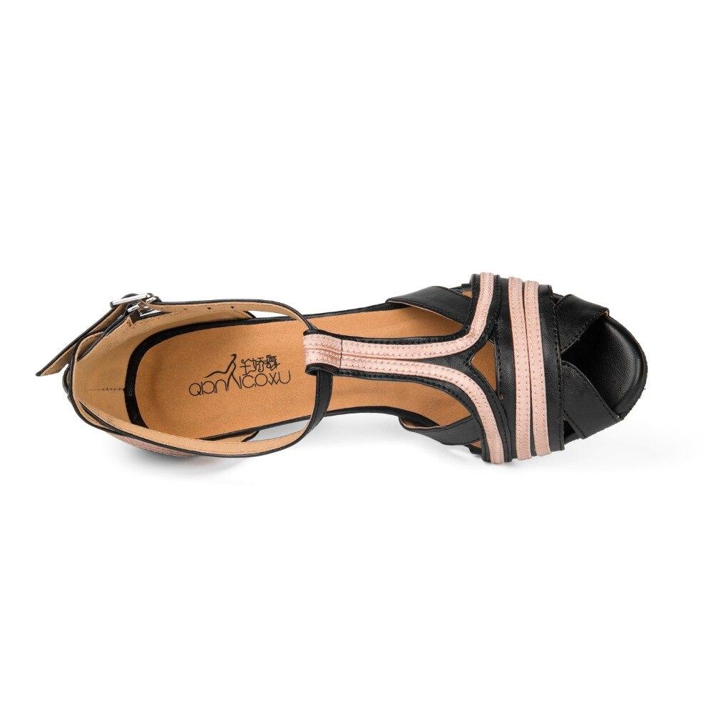 Women Latin Ballroom Dance Shoes Salsa Sandal Female Samba Tango Kizomba Bachata Dance Shoes in High-Heeled 10cm Soft Sole 1815