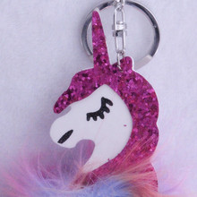 PINXIUColorful Fluffy Unicorn Pony Keychain Pendant Cute Pompom Artificial Rabbit Fur Key Chain Bag Car KeyRing Hang Bag Jewelry