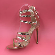 Light Gold Ankle Strap Women Sandals High Heels Stilettos Shoes Women 2017 New Gladiator Style Sandal Laides Party Shoe Open Toe