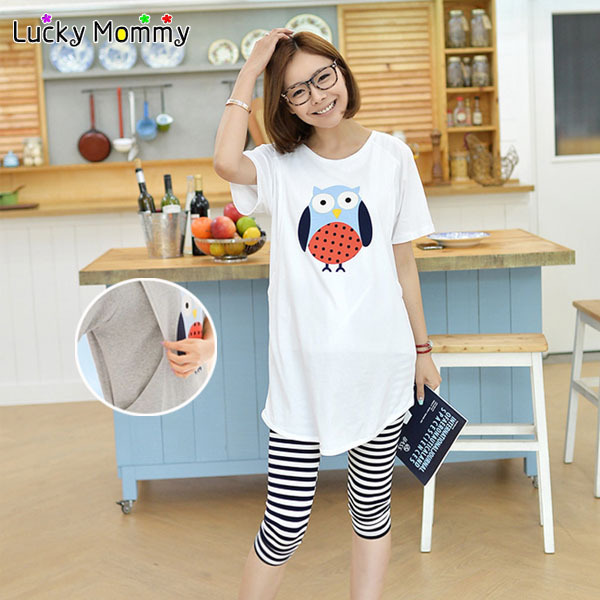 Maternity Sets Cartoon Printed Breastfeeding Tops Nursing T-Shirts Striped Maternity Capri Pregnant Leggings for Pregnant