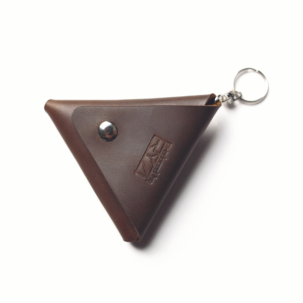 Vintage Triangle Leather Coin Pouch Handmade Mini Genuine Cowhide Wallet Hasp Small Leather Coin Purse