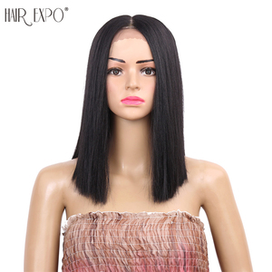 12inch Straight Synthetic Lace front Wig Middle Part Wigs Heat Rasistant Wig for Black Women Hair Expo City