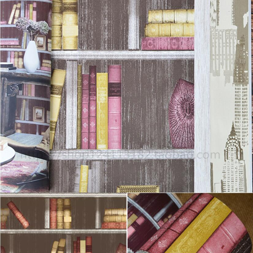 American 3d Bookshelf Pvc Waterproof Wallpaper Bookcase Sofa Tv Background Wall In Wallpapers From Home Improvement On Aliexpress