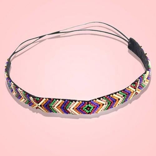 Fashion Colorful Ethnic Style Seedbead Headband Elastic Hairband Party Hair Accessary