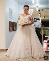 2016 elegant new ball gown wedding dress cap sleeve lace appliques formal bride dress princess beading wedding gowns hot sale