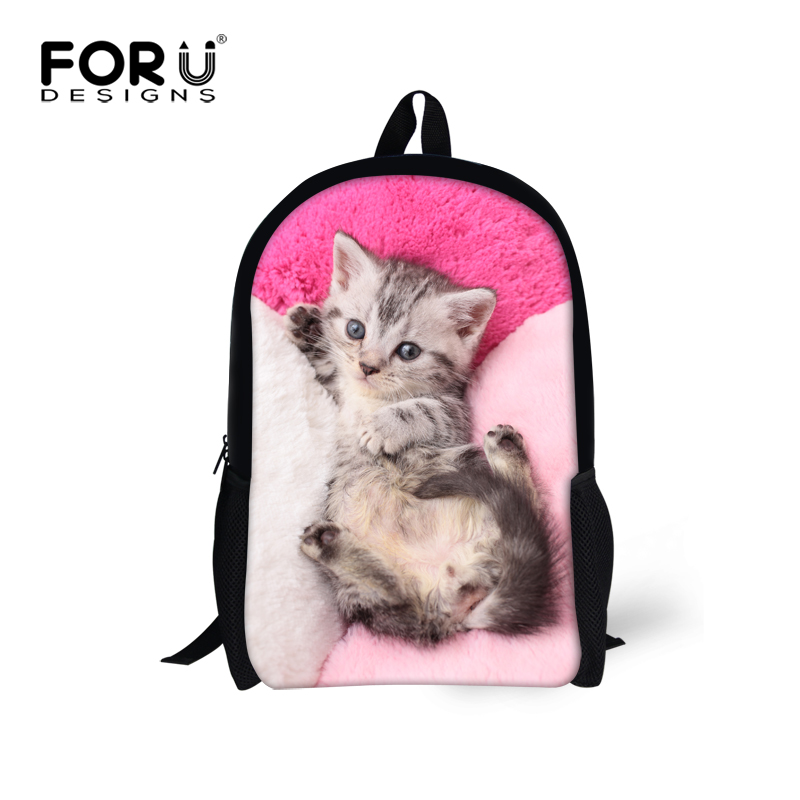 Kawaii cat schoolbag backpacks for girls sweet pink color junior printing school bags backpack free Customized mochila feminina