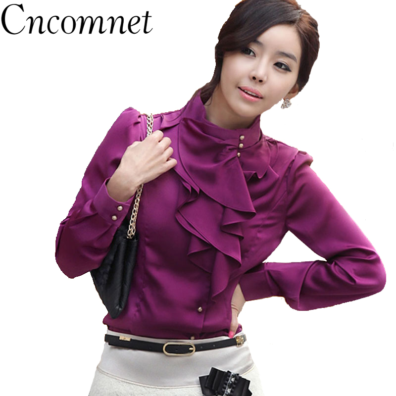 Women Blouse Tops Ruffled Stand Collar Long Sleeves Chiffon Shirt 2019 Autumn Winter New Fashion Office Ladies Shirt