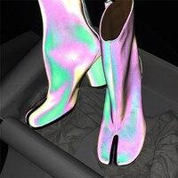 2018 г.; Дизайнерские ботильоны в стиле таби; женские ботинки на Высоком толстом каблуке с раздельным носком; модная Осенняя женская обувь из к