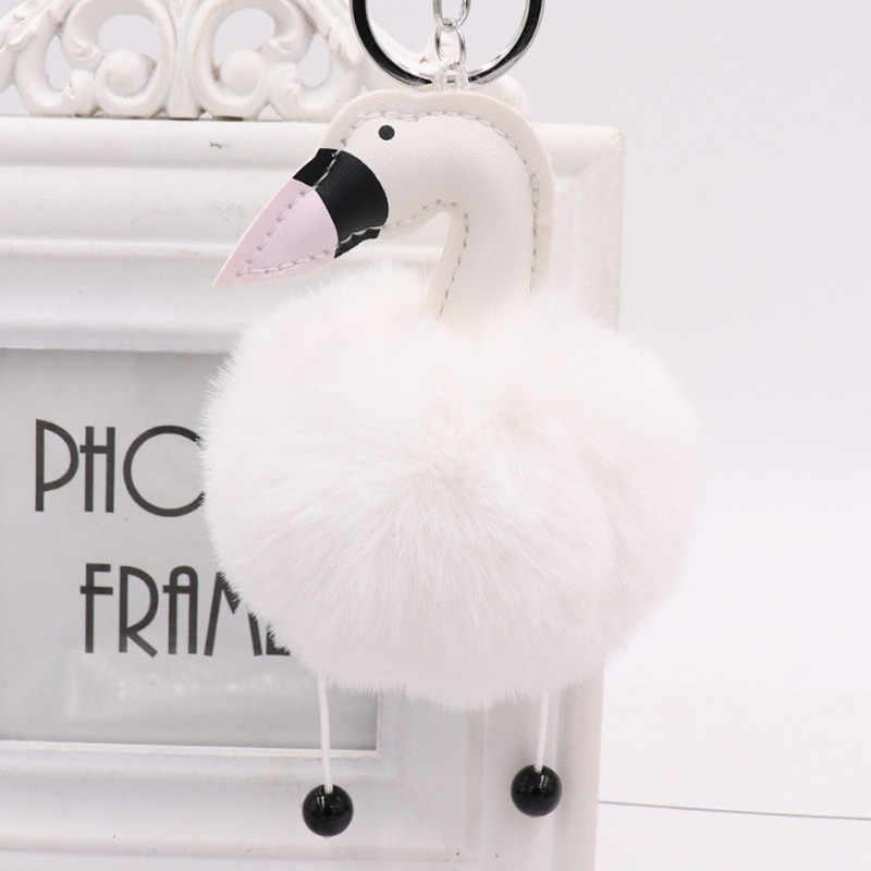 Pompom Bonito Cisne Fulffy Animais Chaveiros Chaveiro de Couro PU 10 Cores da Pele Do Falso Cisne Anéis Chave Trinket Lembrança