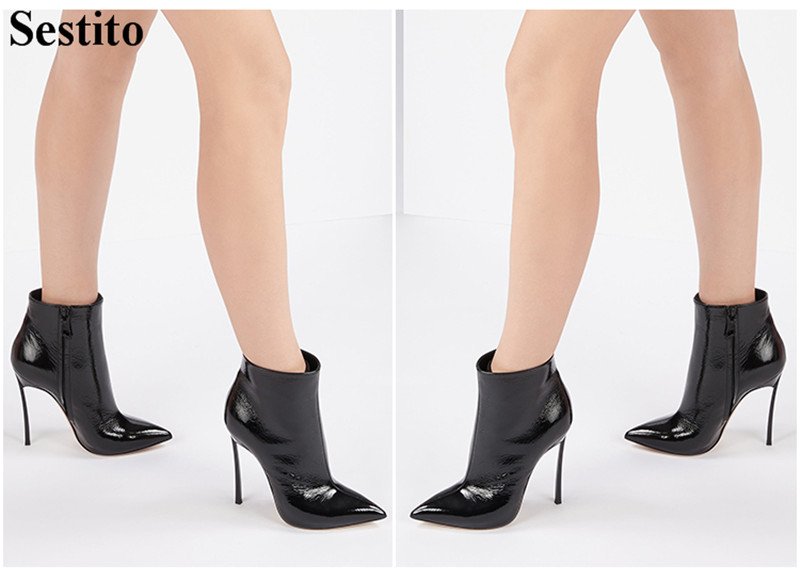 Autumn New Sexy Black White Woman Boots Pointed Toe Thin Heels Boots Ankle Boots For Women Zip Short Boots Casual Women ShoesAutumn New Sexy Black White Woman Boots Pointed Toe Thin Heels Boots Ankle Boots For Women Zip Short Boots Casual Women Shoes