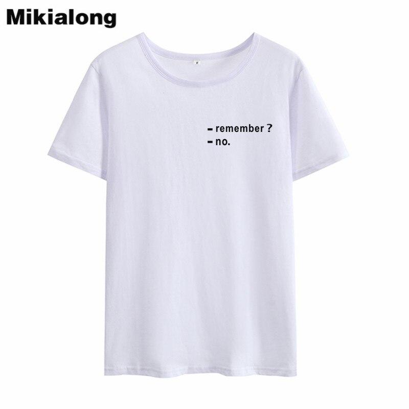 Mikialong ne se souvient pas de poche Harajuku T-shirt femmes 2019 manches courtes lâche Camiseta Feminina noir blanc coton femmes T-shirt