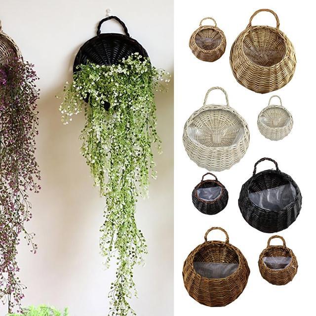 Buatan Tangan Anyaman Rotan Keranjang Bunga Bambu Hijau Vine Pot Planter  Vas Gantung Wadah Dinding Dekorasi ae2276fe6b