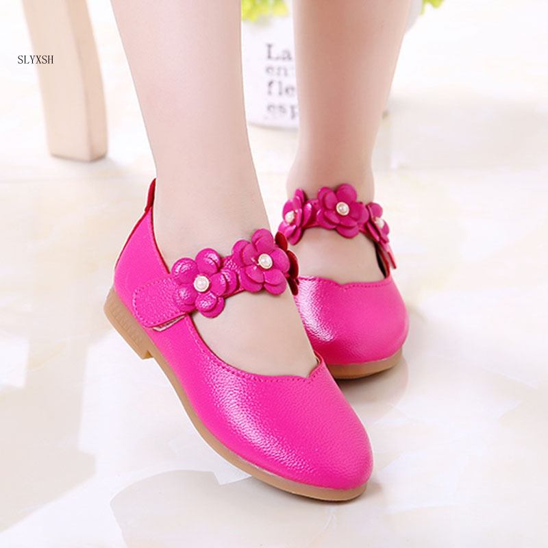 Girls flowers princess shoes new arrive children simple shoes white pearl casual kids party dress shoes girls leather shoes