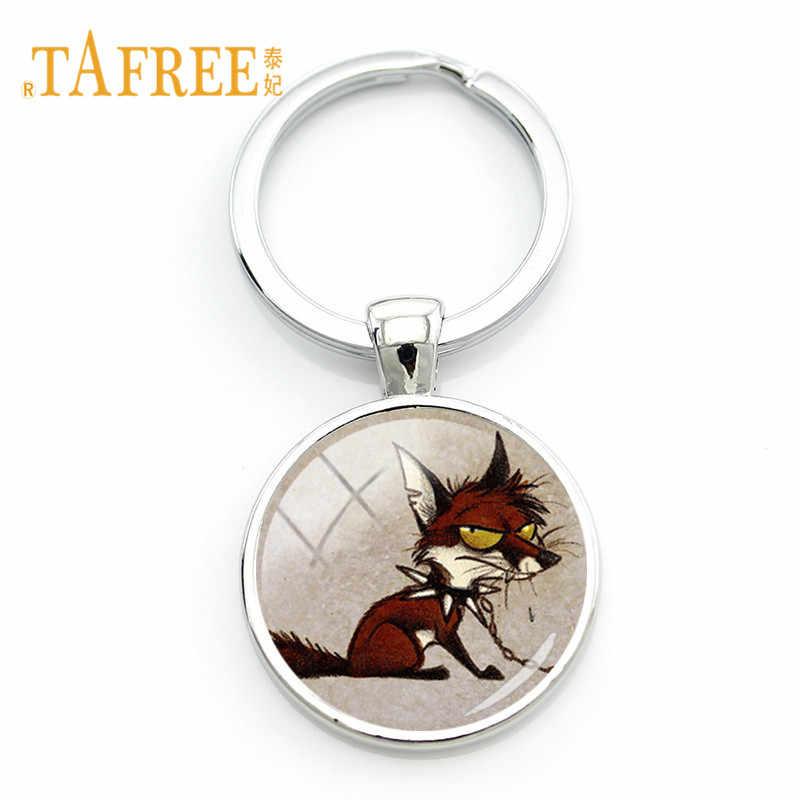 Raposas TAFREE acorrentado Sly Fox Keychain Animal Dos Desenhos Animados Da Arte Chaveiro clipe de Gemas De Vidro Cúpula De Metal Chaveiro Chave Titular Cadeia WF18