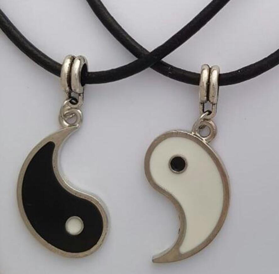 1PCS Fashion Vintage Silver Yin Yang Leather Necklaces 2 Pen…