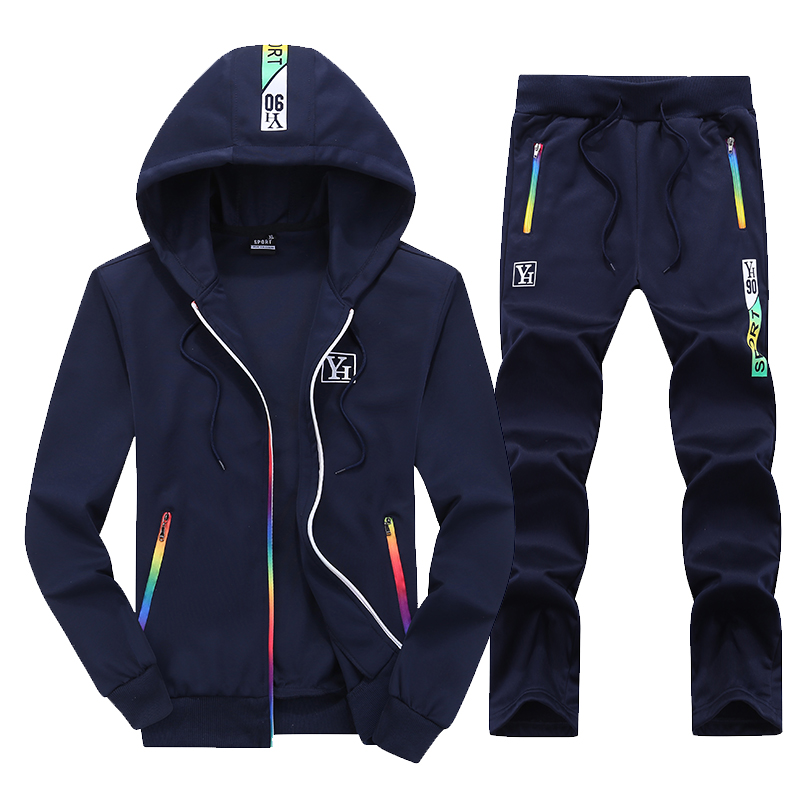 Fall New Mens Long Sleeve Hooded Jackets and Drawstring Trousers Male Casual Movement Sets S 4XL