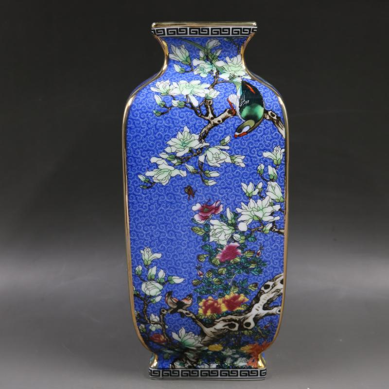 Antique Porcelain Collection of Enamel Colored Flower and Bird Square Antique Porcelain in Qianlong Period of Qing Dynasty|Vases| |  - title=