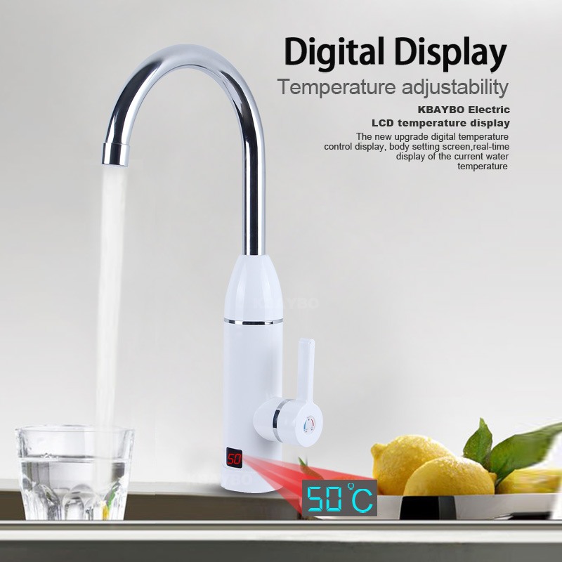 3000W Kitchen Instant Water Heater Faucet Electric Tankless Water Heater LED Digital  For Kitchen Cold Hot Dual-Use With Eu Plug