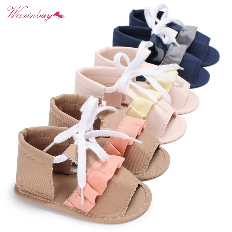 Baby Girls Sandal Summer Lace Up Sweat-absorbent Anti-slip Shoes Cotton Cloth Bandages Design Girl Walking Shoes