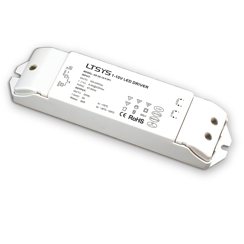 New LTECH AD-36-12-F1P1; 0/1-10V dimming driver;AC100-240V input;12V 3A 36W output Constant Voltage Led Driver