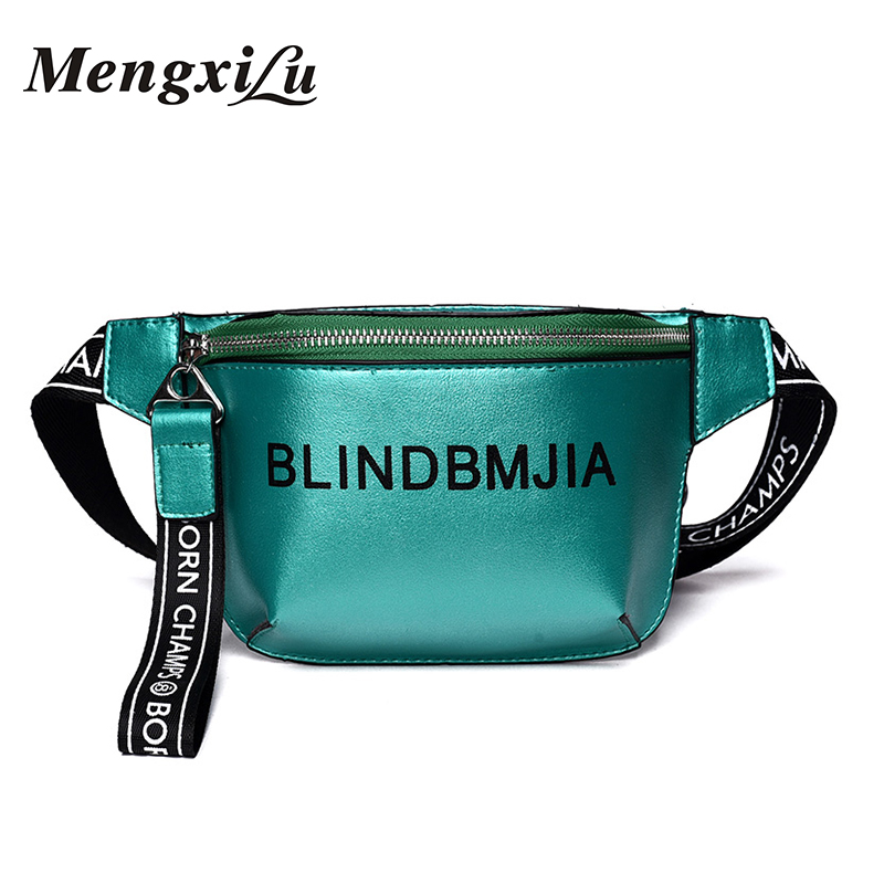 MengXiLu Fashion PU Leather Waist Bag Women Letter Fanny Packs Belt Bag Female Chest Handbag Drop Ship Travelling Mobile Bum Bag