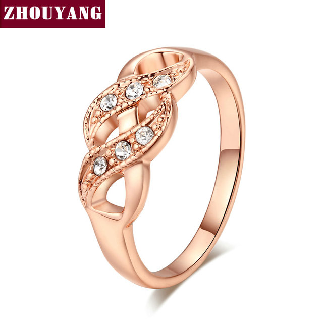 ZHOUYANG Ring For Women Simple Style Wave Shape Austrian Crystals Rose Gold Colo